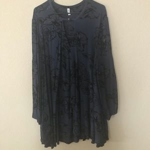 Free People Navy Floral Tunic